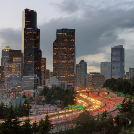 Rush Hour Seattle Interstate 5 Cuts Through Downtown City Center